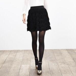 Banana Republic Black Knit Fringe Mini Skirt